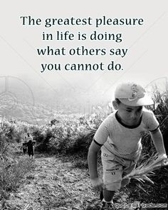 The greatest pleasure in life is doing what people say you cannot do