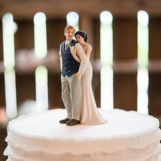 Sweet Embrace Couple Figurine Wedding Porcelain Cake Topper - Customizable
