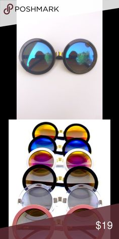 Retro oversized round mirrored shades!! Black frame sunglasses that has electric blue lens!! Screams summer!!! all colors available Accessories Sunglasses