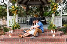 When Sara contacted me and said she was helping plan a marriage proposal for Scott + Haydee and asked if I'd be interested in photographing it, of course, I said yes! Sara planned a gorgeous event at Orlando's historic Dr. Phillips House complete with beautiful sunflowers, a fantastic guitarist, and a lovely private dinner! Haydee was super surprised, teared up a bit, and said YES! Congrats you two!