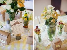 flowers and tablecloths