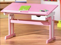 Furniture. Lovely Kids Drawing Table Furniture Designs. Cute Pink Kids Drawing Table Furniture Design with Rectangle Shaped Tilt Style Drawing Table Top also Wood Materials Drawing Table Materials also Double Table Legs