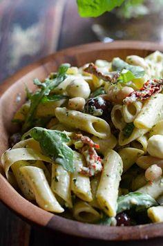 Creamy Pesto Pasta Salad!  Perfect for your summer BBQs, picnics, and get-togethers! | hostthetoast.com