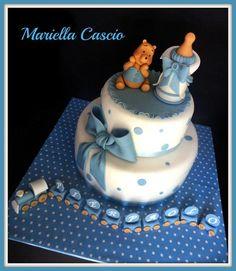 Christening cake Baby Shower Cake Designs, Cupcake Cake Designs, Baby Shower Cakes, Cupcake Cakes, Baby Boy Cakes, Cakes For Boys, French Cake, Communion Cakes, Bear Cakes