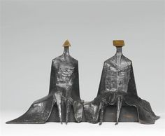 Artwork by Lynn Chadwick, SITTING FIGURES IN ROBES I, Made of bronze