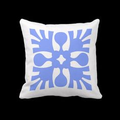 Blue Abstract design pillows  The pattern is in white on blue on the reverse side