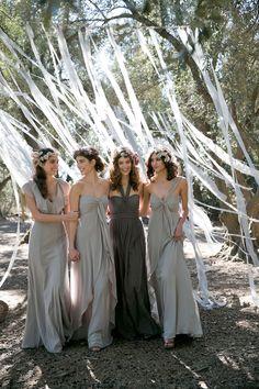 Charcoal and dove grey #bridesmaids // Vintage Glam: #Bridesmaid Dresses by Jenny Yoo #gray