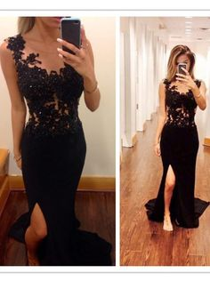 Simple Dress Black Prom Dresses, Mermaid Slit Chiffon Long Prom Dresses, Graduation Dress, Evening Dresses CHPD-7109