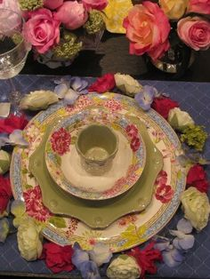 table setting of roses