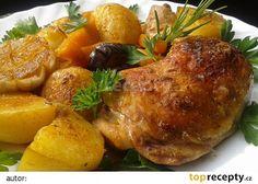 Kuře pečené s dýní a novými bramborami recept - TopRecepty.cz French Toast, Chicken, Meat, Breakfast, Food, Morning Coffee, Essen, Meals, Yemek