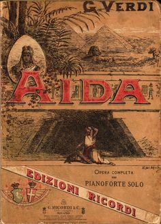 Copertina dello spartito dell'opera Aida su libretto di Antonio Ghislanzoni. Ricordi, Milano 1880 c. Illustrazione di Alfredo Edel in cromolitografia.