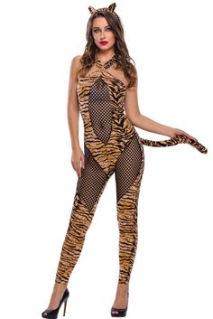 32f7a24e99c New Party Role Play Costume Sexy Adult Tiger Kitty Cosplay Halloween Costume  2017 Female Jumpsuit Costume