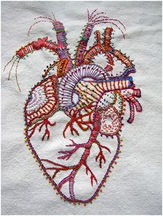 Rebecca Ringquist, Embroidery, stitching, heart, organ, body, colorful, FIBER…