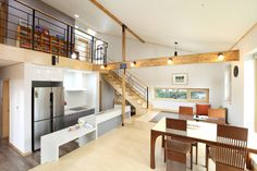 A split level modern rustic living space with Korean interior design style