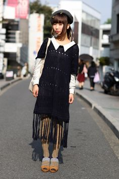 Tokyo Crochet | Street Fashion | Street Peeper | Global Street Fashion and Street Style    normally i kind of turn my nose up at crochet overlay dresses, but this suits her so well.