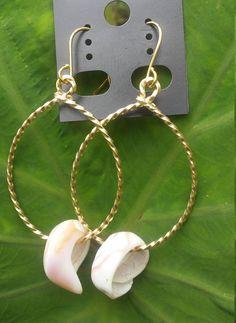 Puka shell tear drop dangle earring Enter coupon code: kauaijewelz for 10% OFF
