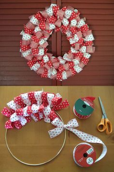 How to make a Christmas Ribbon Wreath.these are the BEST DIY Christmas Wreath Ideas! (How To Make Christmas Ribbon) Christmas Projects, Holiday Crafts, Christmas Ideas, Christmas Colors, Christmas Ribbon Crafts, Holiday Wreaths, Christmas Wreaths To Make, Making Christmas Decorations, Simple Christmas