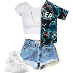 A fashion look from November 2014 featuring black top, white tops and ripped short shorts. Browse and shop related looks. Swag Outfits For Girls, Cute Swag Outfits, Sporty Outfits, Teen Fashion Outfits, Teenager Outfits, Dope Outfits, Stylish Outfits, Summer Outfits, Girl Outfits