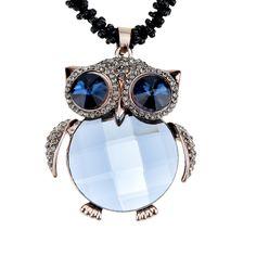 Марка макси ожерелье милый горный хрусталь сова ожерелья и подвески длинная цепь ожерелье женщины себе ювелирные изделиякупить в магазине Five Star Outlet наAliExpress