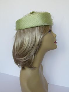 Green Pillbox Hat  Vintage Hats For Women Art by WhyWeLoveThePast
