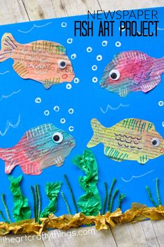 This mixed media newspaper fish art project is full of texture and color and kids will have a blast creating it. Perfect as a summer craft for all ages.