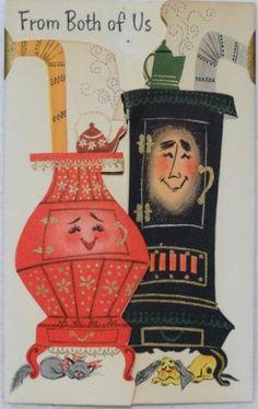 #1434 50s Hallmark Anthropomorphic Stoves-Vintage Christmas Greeting Card