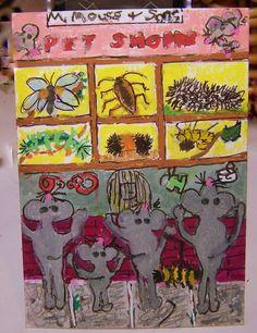 NFAC May ACEO Pet Animals Pet-Shop mice caterpillars Original Whimsical cartoon