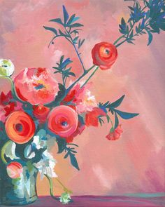 """Original Floral Still Life Painting / 10 x 8"""" / """"Peaches With Pink"""" / OOAK Acrylic on Canvas Painting / Peach, Vermillion, Pink, Turquoise"""