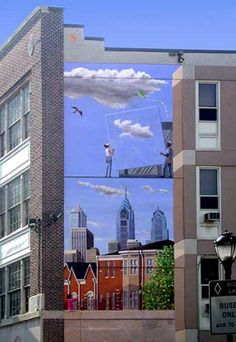 """Reaching Beyond Expectations"" - mural by D. S. Gordon in Philadelphia, PA (2005);  18' x 40' for the Philadelphia Housing Authority"