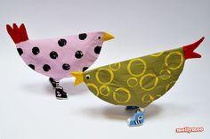 My Leggy Birds - paper plate hens like to wear Converse!!