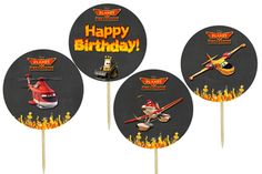 Disney Planes Fire and Rescue Movie Birthday Cupcake Toppers or Gift Tags