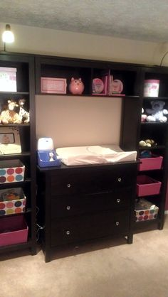 Our take on the PB Kids Madison Changing Table System, using 2 Ikea Hemnes Books Shelves, 3 Drawer Dresser and Bridging Shelf, all the style 1/2 the price! Cute!!!