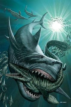 Discovery Channel's Megalodon & Prehistoric Sharks (Zenescope Entertainment) Enjoy this graphic novel's unique blast from the past as the ancestors of today's. Prehistoric World, Prehistoric Creatures, Mythical Creatures, Hai Tattoo, Types Of Sharks, Megalodon Shark, Shark Art, Dinosaur Art, Dinosaur Crafts