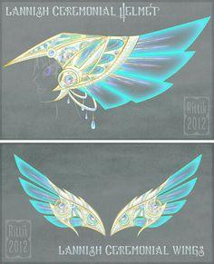 Concept art: Lannish ceremonial armour by Rittik.deviantart… on Concept art: Lannish ceremonial armor by Rittik. Anime Weapons, Fantasy Weapons, Fantasy Jewelry, Fantasy Art, Dessin Animé Lolirock, Wings Drawing, Wings Design, Weapon Concept Art, Magic Art