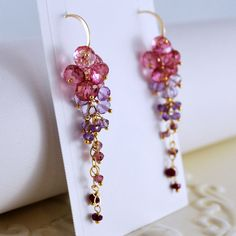 Bridal Earrings Gemstone Pink Topaz Purple Amethyst by livbridal