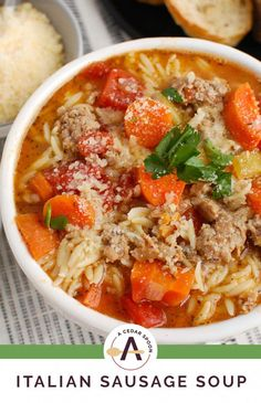 This Italian Sausage Soup is a hearty soup that will leave you satisfied and wanting more! It comes together in 30 minutes and combines sausage and orzo. Best Soup Recipes, Chowder Recipes, Chili Recipes, Favorite Recipes, Sausage Recipes, Italian Sausage Soup, Italian Spices, Giada De Laurentiis, Healthy Dishes