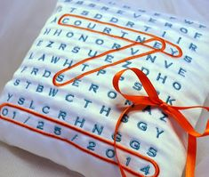 Word Search Wedding Ring Pillow by MondeDesign on Etsy