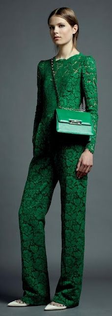 Amazing emerald color. Amazing crochet wear.  Valentino Resort 2013 Collection