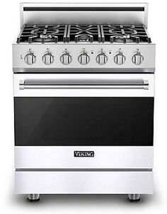 Viking RVGR33025BWH 30 Inch Freestanding Gas Range with 5 Sealed Burners, 18,000 BTU, 4.0 cu. ft. Convection Oven, TruGlide Full-Extension Oven Rack and Self-Clean Cycle: White, Natural Gas $4,599.00