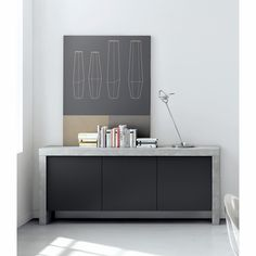 Shop AllModern for stylish sideboards and buffets. Store your extra table linens, dinnerware, and flatware in a modern kitchen buffet and expand your storage options! Kitchen Buffet, Sideboard Buffet, Modern Sideboard, Kitchen Ideas, Cabinet Dimensions, Black Lamps, Panel Doors, Adjustable Shelving, All Modern