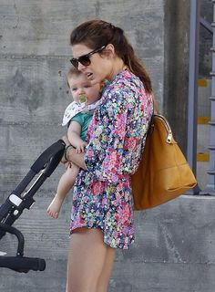 Charlotte Casiraghi and her son Raphaël Elmaleh in Venice Beach, California, USA on 06.09.2014