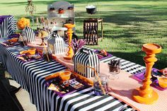 This Hocus Pocus Inspired Halloween Party is full of fabulous party details, decorations, and treat ideas for celebrating this Halloween movie favorite! Outdoor Halloween Parties, Halloween Table, Halloween Birthday, Halloween Party Decor, Baby Halloween, Halloween Themes, 1st Birthday Parties, Halloween Signs, 28th Birthday