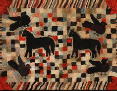 "Whimsical Hooked Rug with Horses and Birds; 36 x 53 ½"", c. 1930-40,  STEPHEN SCORE ANTIQUES 