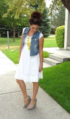 LWD, denim vest, printed wedge, and a bubble necklace