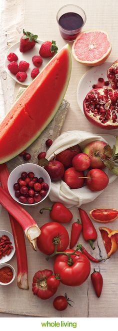 Eat your colors! Red foods are rich in resveratrol, capsaicin, & lycopene, Wholeliving.com   Yummy!!!!