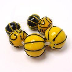 Handmade #lampwork beads  -  Bright Yellow