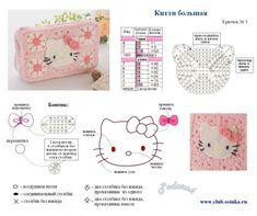 cute Hello Kitty in crochet Crochet Motifs, Crochet Diagram, Bead Crochet, Filet Crochet, Cute Crochet, Crochet Patterns, Crochet Appliques, Crochet Hello Kitty, Chat Hello Kitty