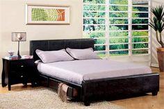 Burlington Espresso Leatherette Platform Queen Bed w/ Drawers