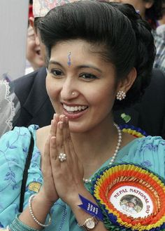 Nepalese Crown Princess Himani Rajya Laxmi Devi Shah greets well-wishers upon arriving at the Nepalese Pavillion at the 2005 World Exposition