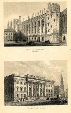 "Tallis's London - ""CHRIST'S HOSPITAL & GOLDSMITH'S HALL"" - Steel Engraving - 1851"